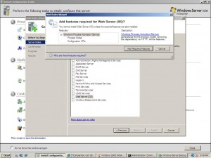 windows 2008 Enterprise add roles and required components are requested